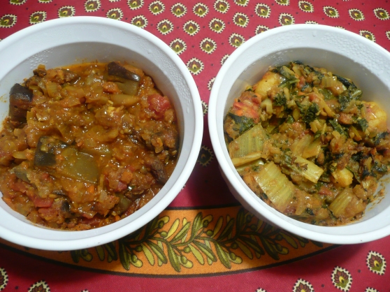 L to R: Eggplant curry, Potato and Swiss chard curry
